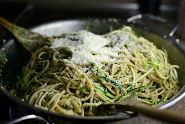 Whole Wheat Spaghetti with Zucchini + Spinach Almond Pesto Sauce l SimplyScratch.com (30)