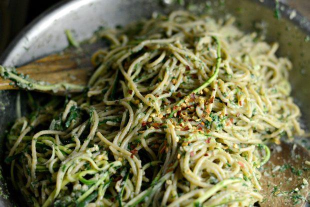 Whole Wheat Spaghetti with Zucchini + Spinach Almond Pesto Sauce l SimplyScratch.com (31)