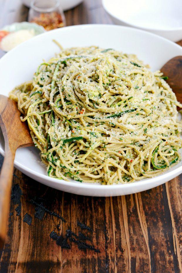 Whole Wheat Spaghetti with Zucchini + Spinach Almond Pesto Sauce l SimplyScratch.com (40)