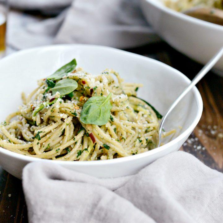 Whole Wheat Spaghetti with Zucchini + Spinach Almond Pesto Sauce