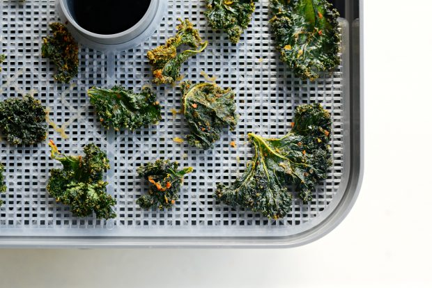 Dehydrated Sriracha + Garlic Kale Chips l SimplyScratch.com