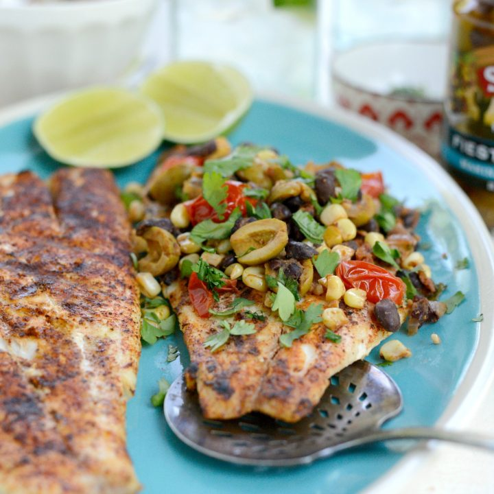 Grilled Red Snapper with Warm Fiesta Olive Topping