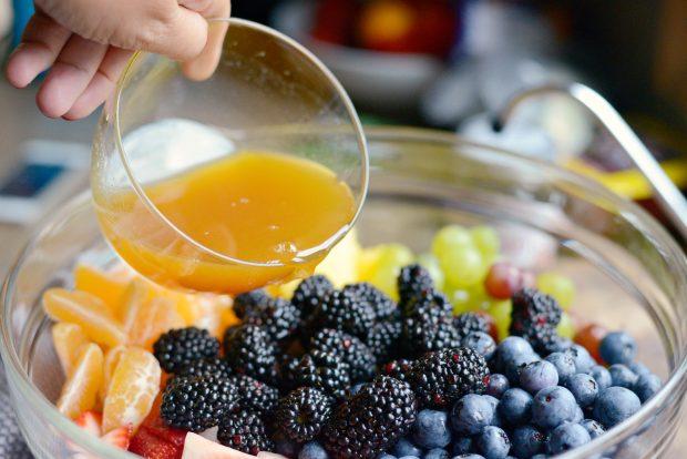 Rainbow Fruit Salad + Citrus Honey Syrup l SimplyScratch.com