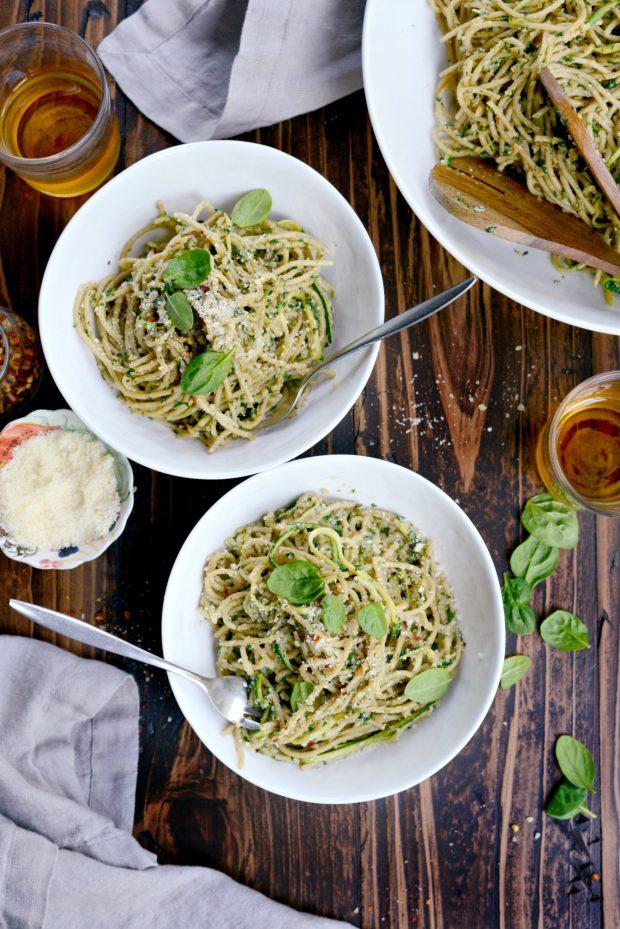 Whole Wheat Spaghetti with Zucchini + Spinach Almond Pesto Sauce l SimplyScratch.com (42)