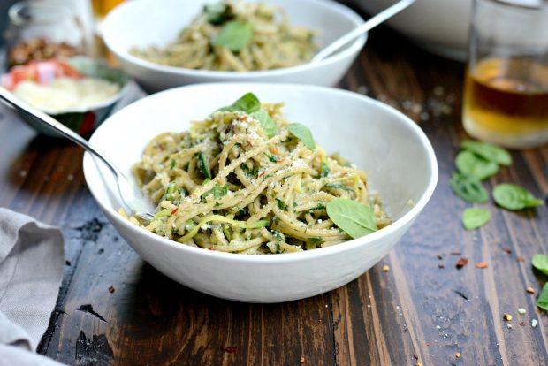 Whole Wheat Spaghetti with Zucchini + Spinach Almond Pesto Sauce l SimplyScratch.com (43)