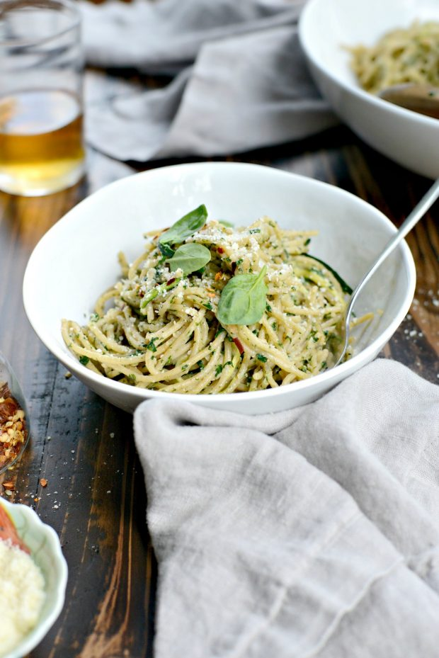Whole Wheat Spaghetti with Zucchini + Spinach Almond Pesto Sauce l SimplyScratch.com (44)