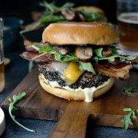 Cracked Peppercorn Crusted Burgers with Dill Pickle Aioli