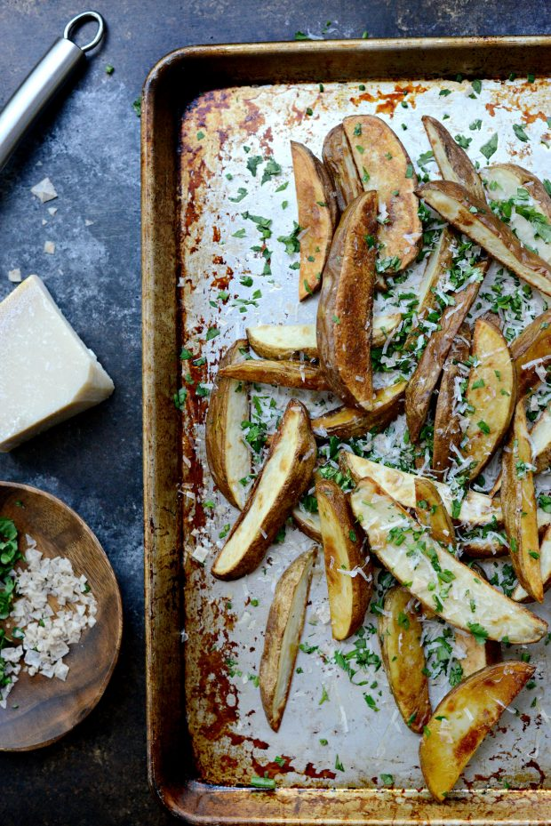 Garlic, Parmesan + Fresh Herb Oven Fries l SimplyScratch.com (5)
