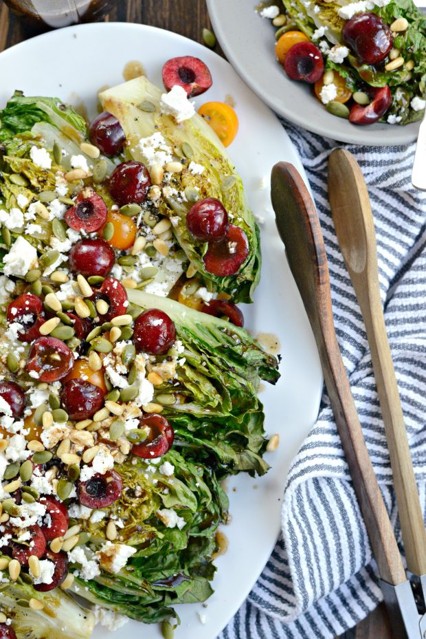 Grilled Romaine Salad with Cherries, Feta and Toasted Pine Nuts l SimplyScratch.com (10)
