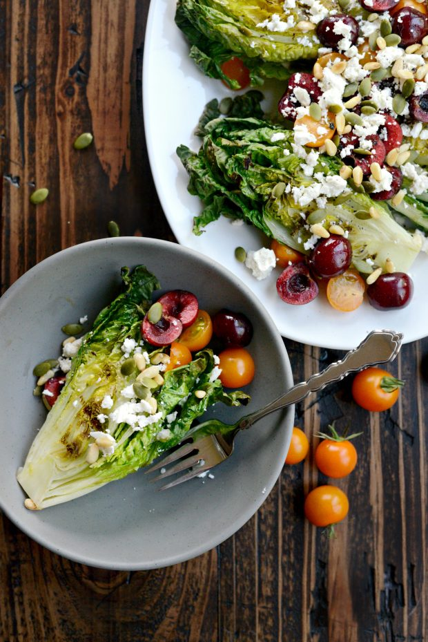 Grilled Romaine Salad with Cherries, Feta and Toasted Pine Nuts l SimplyScratch.com (2)