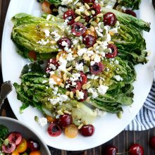 Grilled Romaine Salad with Cherries, Feta and Toasted Pine Nuts l SimplyScratch.com  (3)