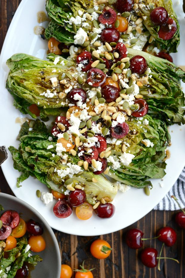 Grilled Romaine Salad with Cherries, Feta and Toasted Pine Nuts l SimplyScratch.com (6)