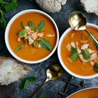 Roasted Tomato Curry Soup with Shrimp