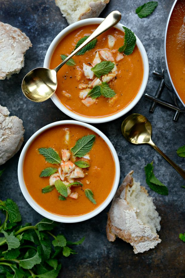 Roasted Tomato Curry Soup with Shrimp + Mint l SimplyScratch.com
