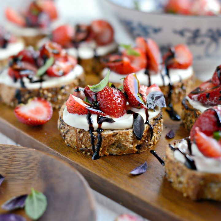 Strawberry Bruschetta with Honey Whipped Goat Cheese