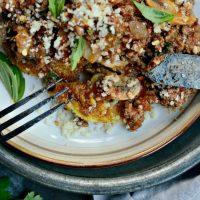 Beef + Mushroom Ragu over Fried Polenta