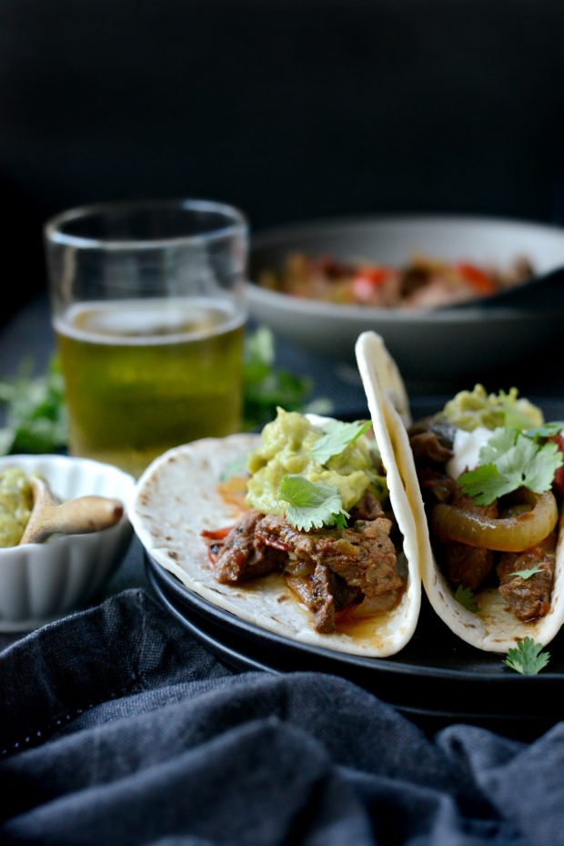 Slow Cooker Steak Fajitas l simplyscratch.com