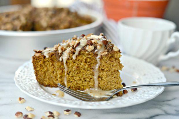 pumpkin coffee cake with hazelnut streusel l simplyscratch.com