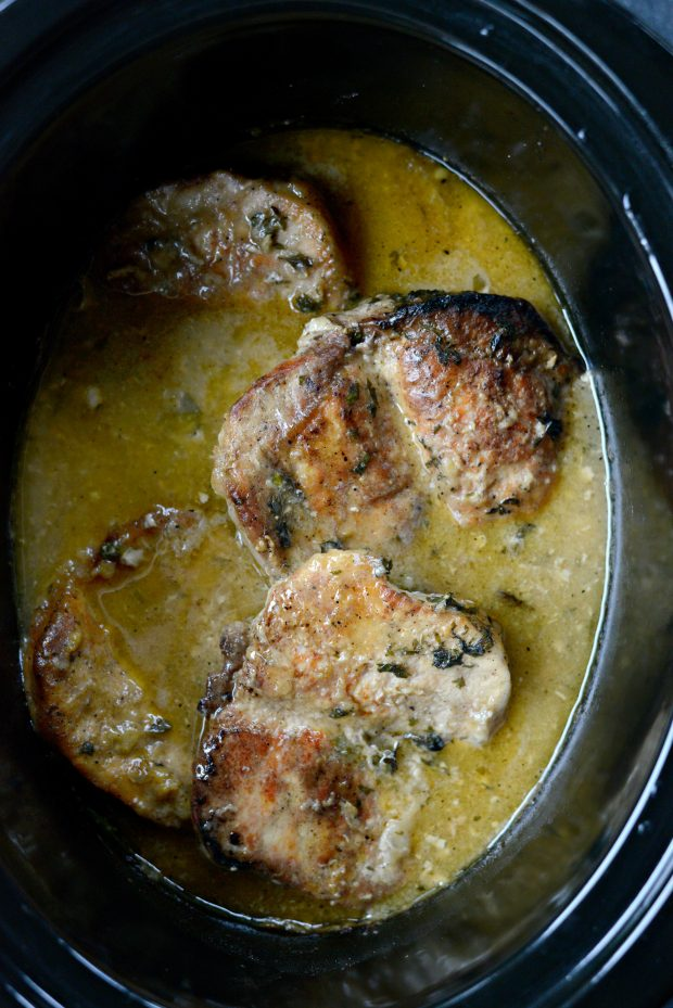 slow cooker pork chops with herb gravy l SimplyScratch.com