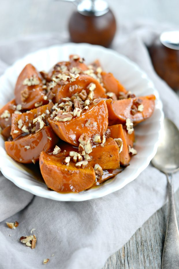 slow cooker candied sweet potatoes l simplyscratch.com