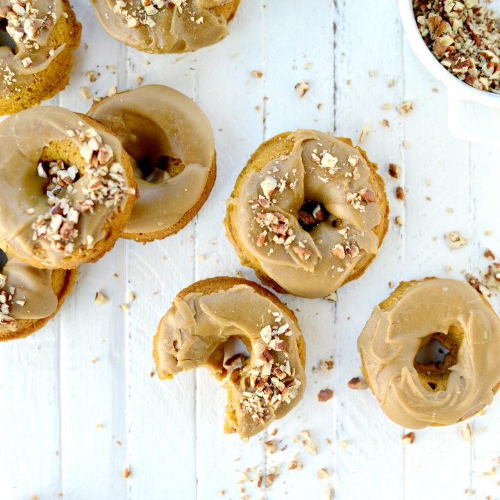 Baked Pumpkin Doughnuts with Brown Sugar Maple Glaze