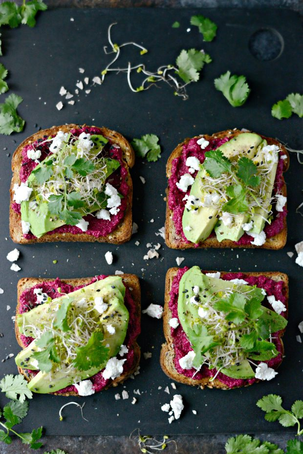 avocado beet hummus toast l simplyscratch.com