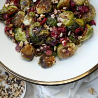Maple Balsamic Brussels Sprouts with Cranberries and Hazelnuts