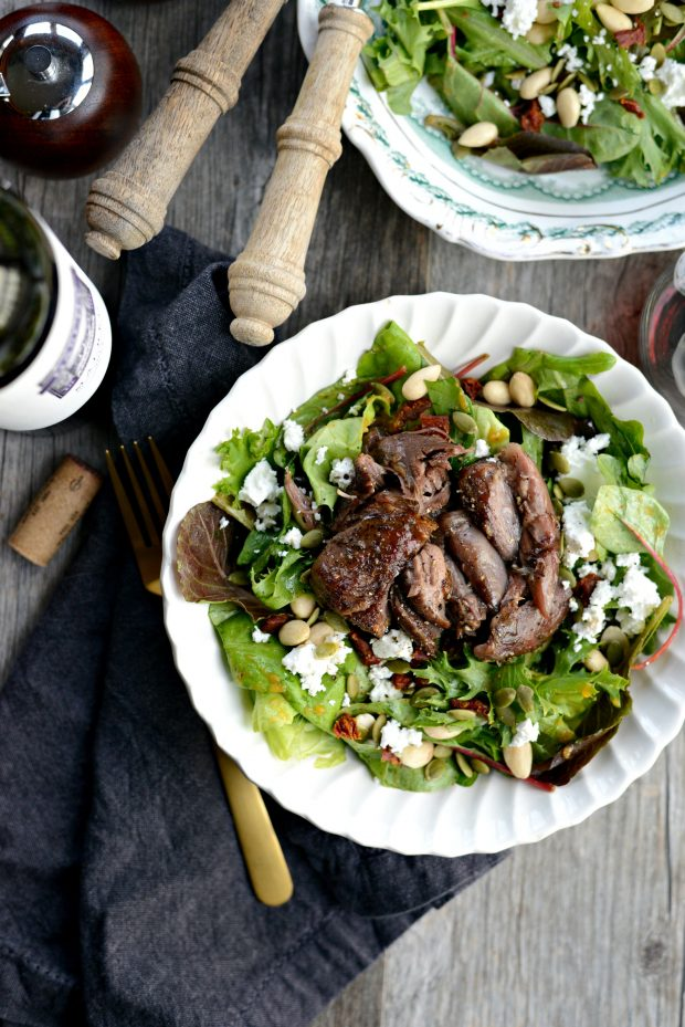 Wine Braised Lamb Salad with Pumpkin Vinaigrette l SimplyScratch.com