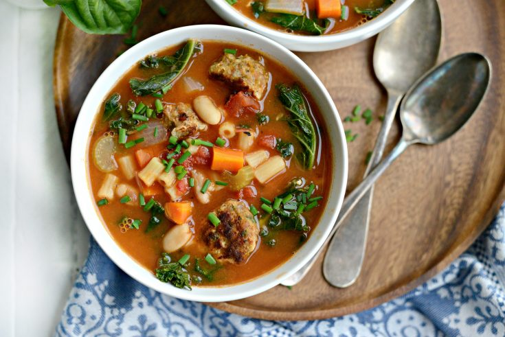 Italian Turkey Meatball Minestrone Soup