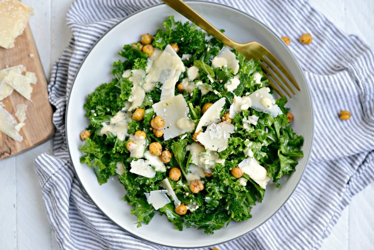 Healthy Kale Caesar Salad with Tahini Caeser Dressing
