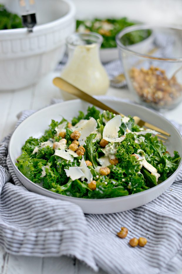 Healthy Kale Caesar Salad with Tahini Caesar Dressing l SimplyScratch.com