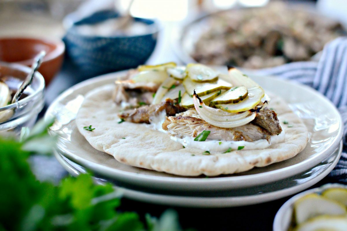 Chicken Shawarma Wraps with Lemon Tahini Yogurt Sauce