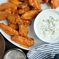 Spicy Garlic Chicken Wings with Blue Cheese Dip