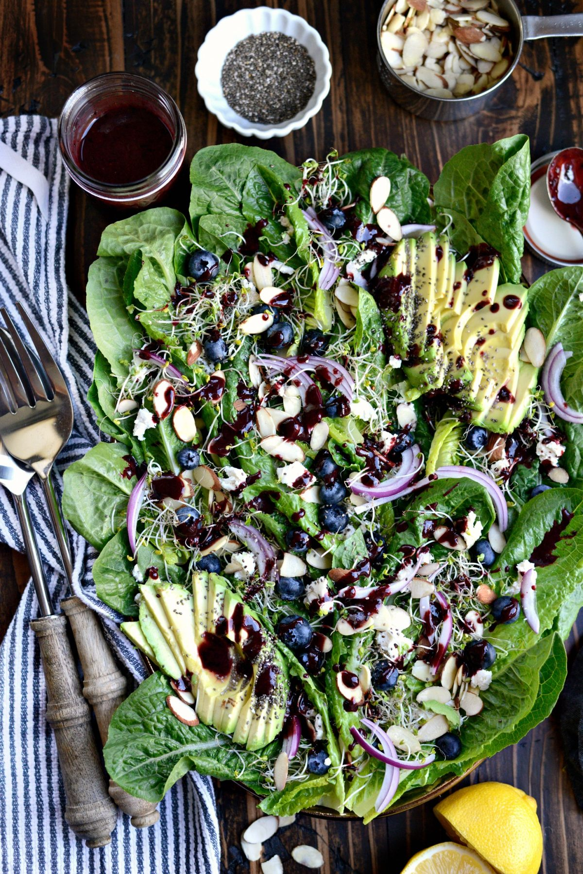 Blueberry Almond Salad with Blueberry Balsamic Vinaigrette