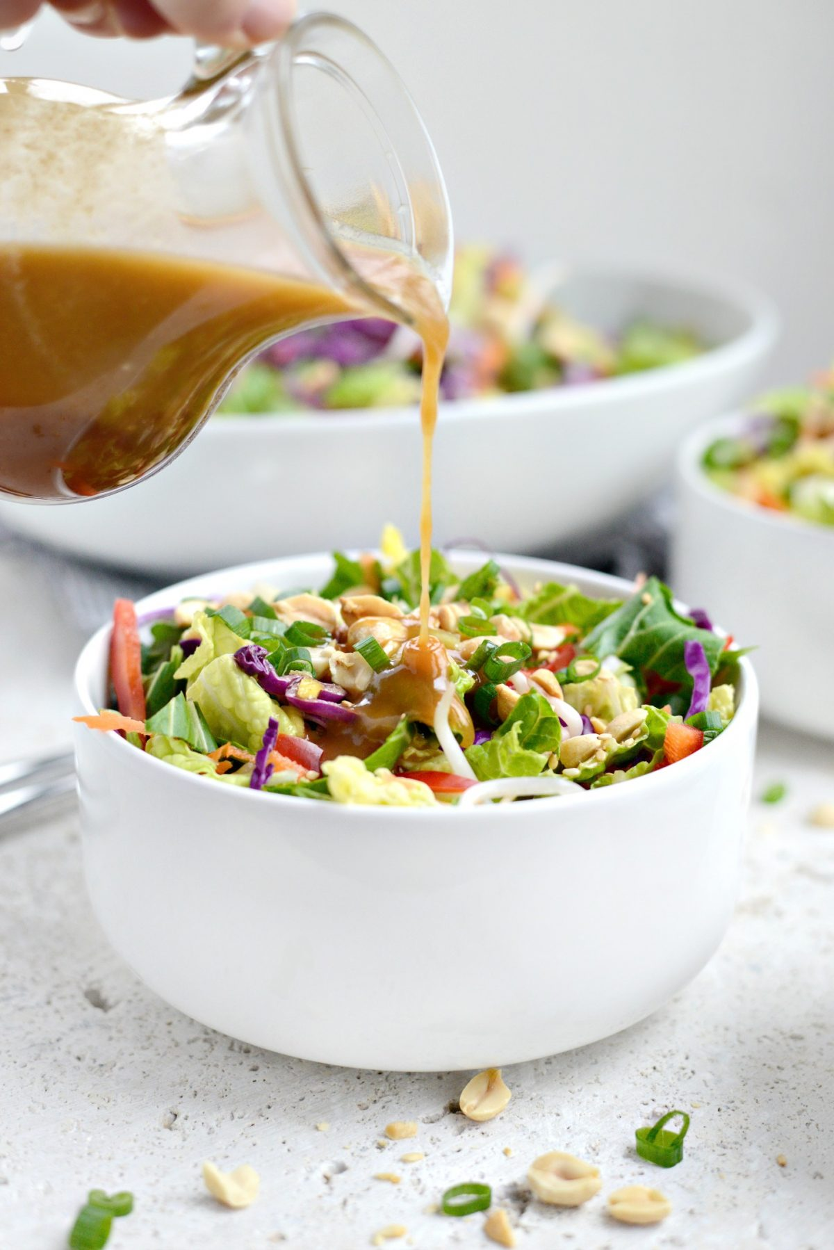 Crunchy Asian Veggie Salad with Honey Ginger Peanut Dressing l SimplyScratch.com