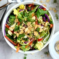 Crunchy Asian Veggie Salad with Honey Ginger Peanut Dressing