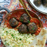 North African Spiced Lamb Meatballs with Roasted Red Pepper Harissa
