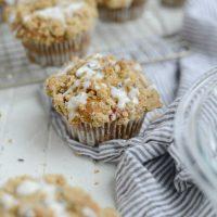 Strawberry Lemon Lavender Crumb Muffins