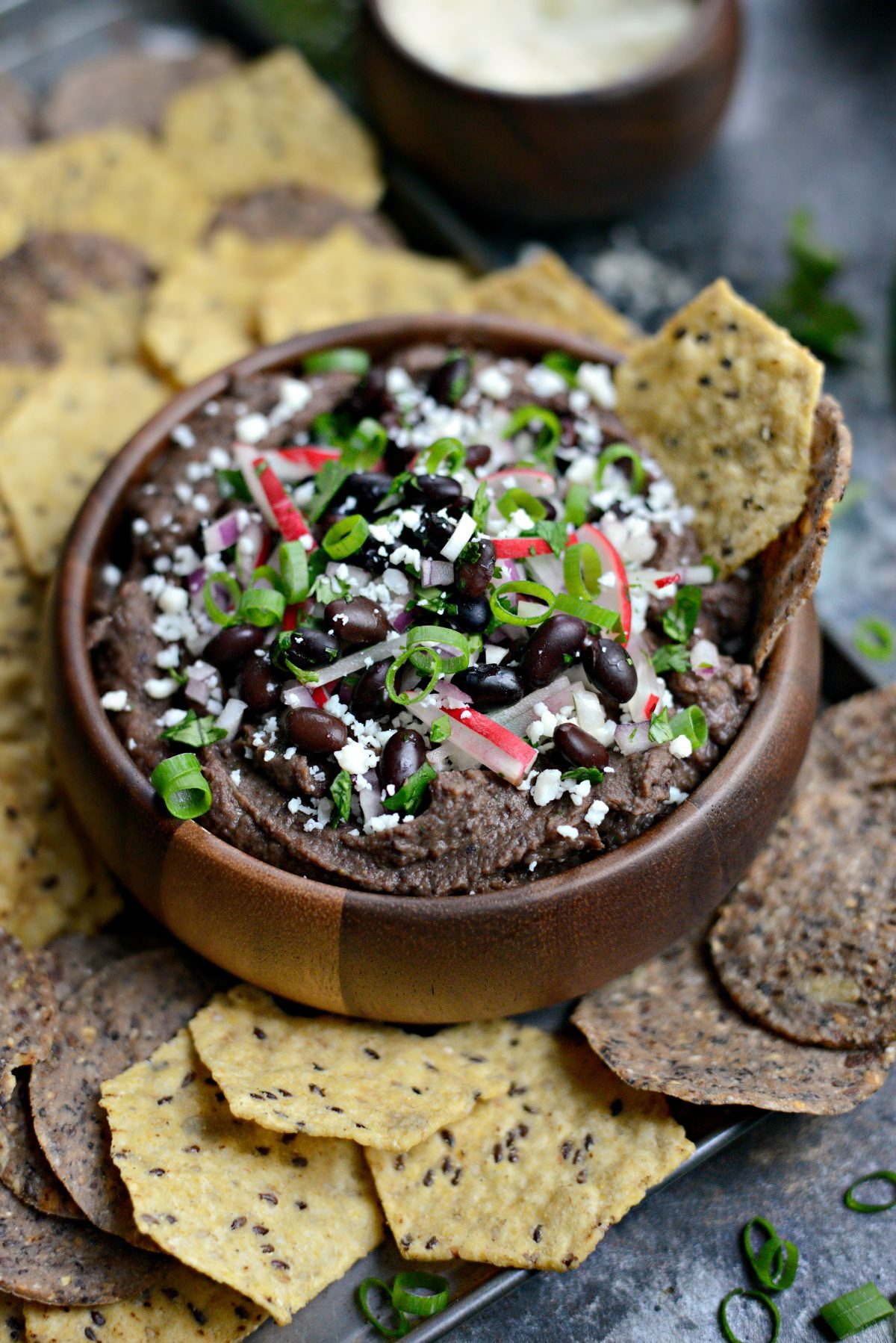 Smoky Chipotle Black Bean Dip with Radish Salsa l SimplyScratch.com