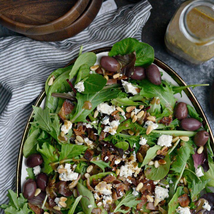 Bacon Blue Cheese House Salad with Sweet Basil Vinaigrette