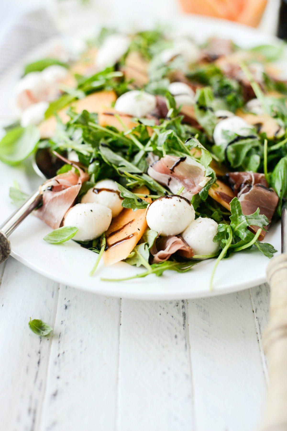 Cantaloupe and Prosciutto Arugula Salad l SimplyScratch.com