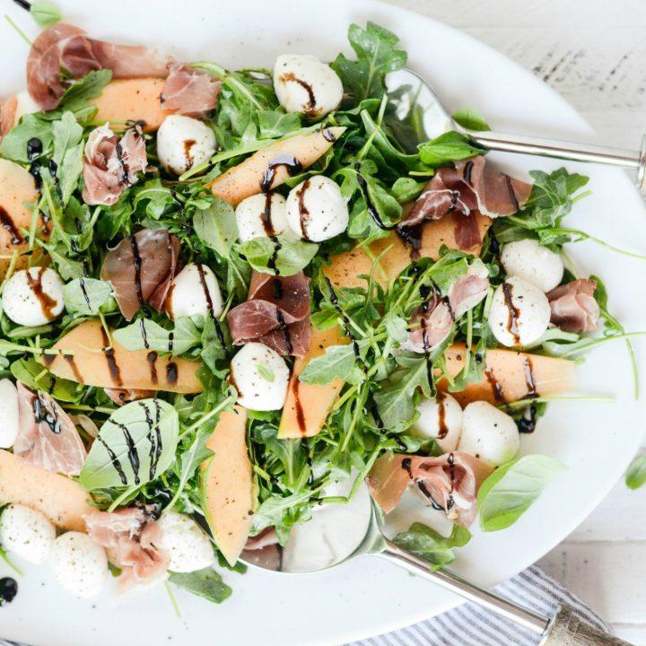 Cantaloupe and Prociutto Arugula Salad