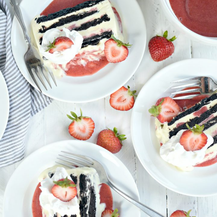 Strawberry Swirl Mascarpone Ice Cream Cookie Cake
