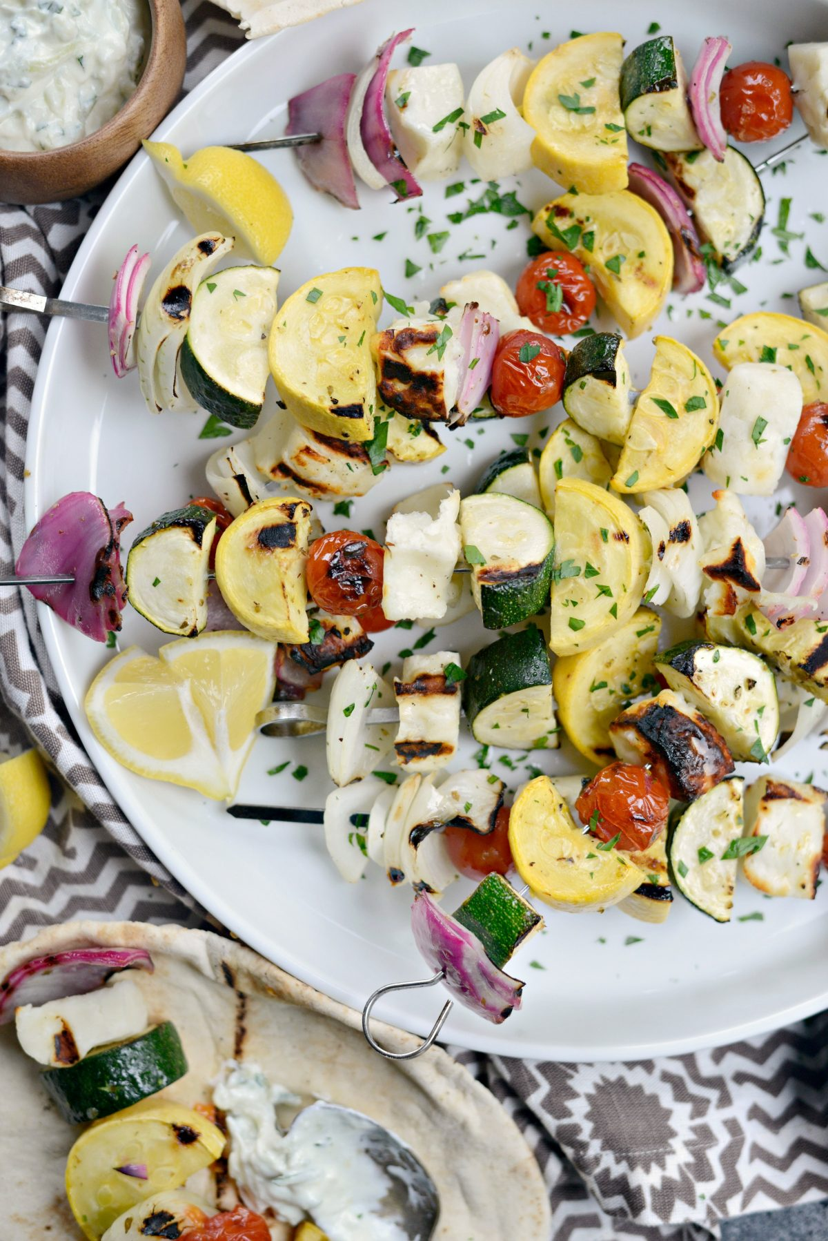 Grilled Halloumi Vegetable Skewers l SimplyScratch.com