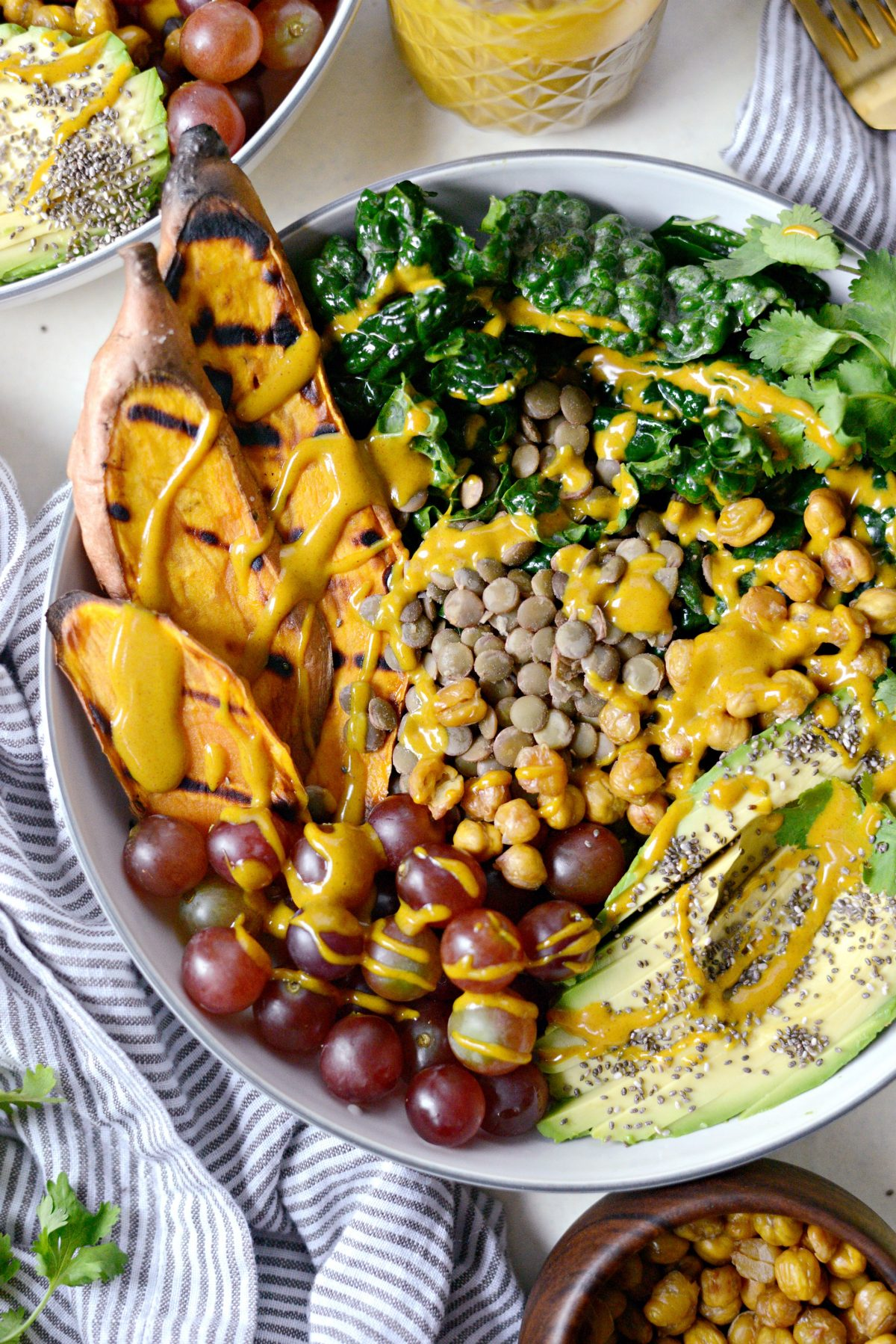 Grilled Sweet Potato, Lentil and Kale Buddha Bowl with Golden Almond Butter Dressing l SimplyScratch.com (15)