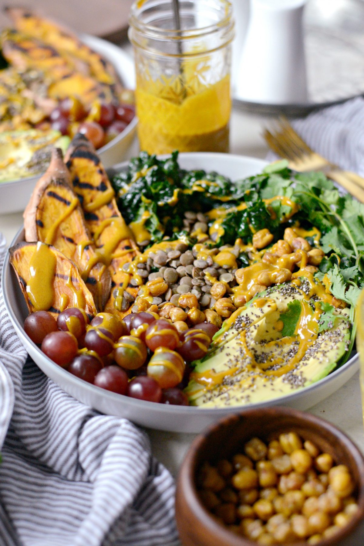 Grilled Sweet Potato, Lentil and Kale Buddha Bowl with Golden Almond Butter Dressing l SimplyScratch.com (17)