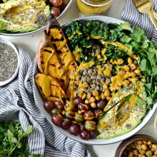 Grilled Sweet Potato, Lentil and Kale Buddha Bowl with Golden Almond Butter Dressing l SimplyScratch.com (19)