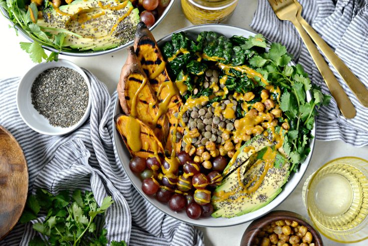 Grilled Sweet Potato, Lentil and Kale Buddha Bowl with Golden Almond Butter Dressing