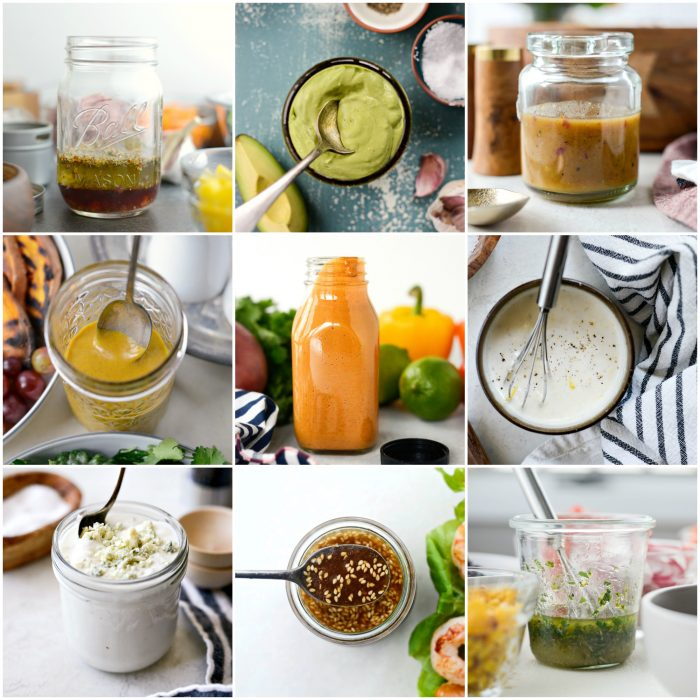 collage of homemade salad dressings and vinaigrette recipes