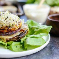 Grilled Teriyaki Portobello Burgers with Honey Wasabi Mayo